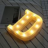 H&Y Nachtlicht Batteriebetriebene Alphabet A Bis Z Kunststoff Lampe Für Geburtstag Hochzeit Bar Schlafzimmer Dekor (ohne Batterie),D-20 * 22cm
