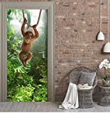 DAIHNZWC 3D Tür Aufkleber Wohnkultur Klebstoff Deursticker Tier Tür Aufkleber Porte 77x200cm abnehmbare Tapete Aufkleber an den Türen