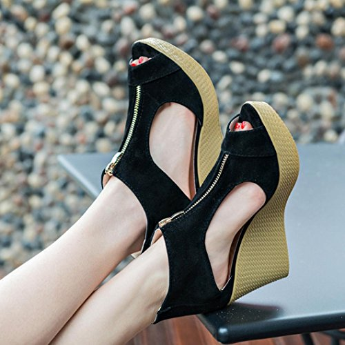 Amlaiworld Donna Sandali,Casual Peep Toe Platform Zeppe Sandali nero