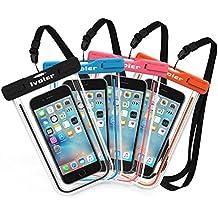 [IPX8 Certificado] iVoler [4 Unidades] Funda Bolsa Móvil Impermeable Universal 6 Pulgadas para iPhone 7, 7 Plus,6 / 6s Plus, SE 5S 5C, Samsung Galaxy S8/S8+/S7/S7 Edge/S6/S6 Edge/Edge+, Huawei P10/P10 Lite/P9/P9 lite/P8 Lite, BQ Aquaris, LG, Sony, Motorola, Monedas, Pasaporte, etc. (Negro+Azul+Rosa+Naranja)