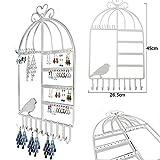 Aution House Vendimia Clase de Joyería Organizador Ganchos de Suspensión de Pared Forma de Jaula de Pájaros Cerro Colgado Pendiente Titular de la Joyería Collar de Soporte de Exhibición del Estante (BLANCO)