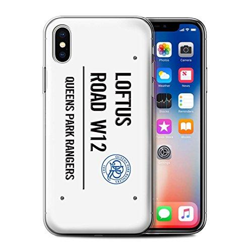 Offiziell Queens Park Rangers FC Hülle / Gel TPU Case für Apple iPhone X/10 / Schwarz/Weiß Muster / QPR Loftus Road Zeichen Kollektion Weiß/Schwarz