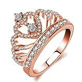 Mode Ringe für Frauen Zirkonia Engagement Band Rose Gold Überzogene Prinzessin Crown Ringe