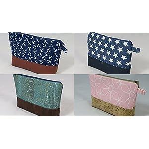 DIY-Nähset Kosmetiktasche inklusive Anleitung aus Kork oder Canvas, Baumwolle, versch. Farben und Muster wie Anker, Sterne, Blumen, Geschenkset, 25x15x5
