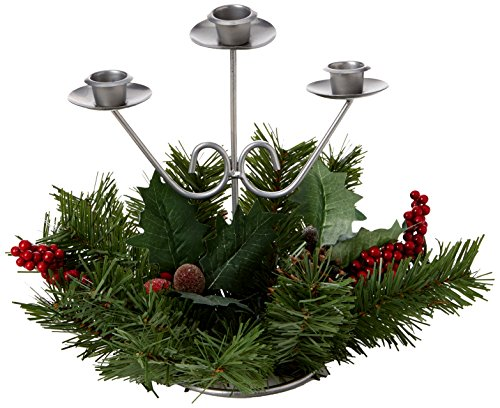 WeRChristmas - Centro de mesa navideño (piñas naturales, bayas y 3 portavelas, 22 cm)
