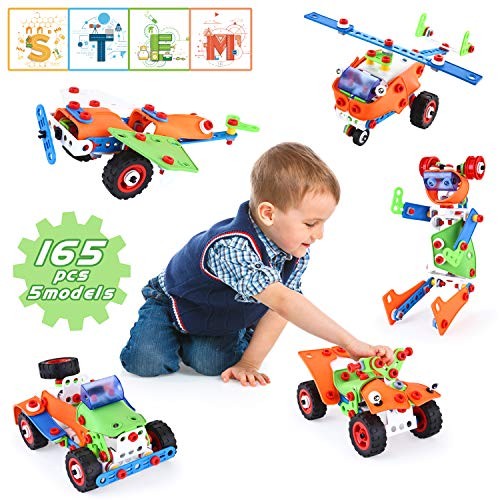 LUKAT Building STEM Learning Toy ,165 Pieces Educational Construction Building Blocks Set for Age 5 6 7 8 9 10 Years Old Boys & Girls, DIY Engineer Kits for Kids, Best Kids Activity Toys