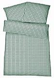 Carpe Sonno Kühle Mako Perkal Sommerbettwäsche 135 x 200 cm Grün aus 100% Baumwolle Schlafkomfort bei warmen Temperaturen – 2-teiliges Kariertes Bettwäsche Set mit Kopfkissen-Bezug 80 x 80 cm