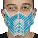 Kandi Gear Glow In The Dark Blue Sub Zero Kandi Mask Mortal Kombat V1 by, rave mask, halloween mask, beaded mask, bead mask for music fesivals and parties