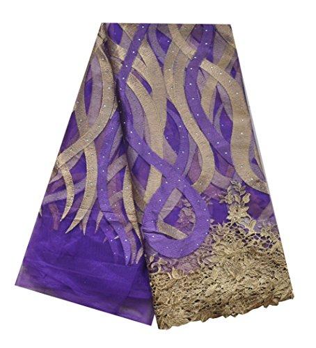 SanVera17 afrikanische Spitze, nigerianischer französischer Stoff, bestickt und Perlenstickerei Guipure Cord Spitze für Party Hochzeit 5 Meter us-fabric -023 violett