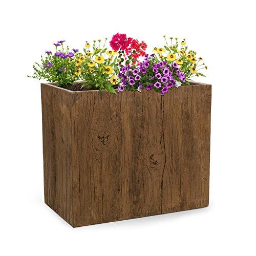 blumfeldt Timberflor • Pflanztopf • Pflanzenkübel • Blumentopf • freie Standortwahl • Keine Wasserablaufbohrung • Fiberglas • standsicher • In-/Outdoor • Holz-Optik • 70 x 60 x 40 cm (BxHxT) • braun