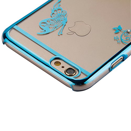 Coque Housse Etui pour iPhone 6 Plus, iPhone 6 Plus Coque en Silicone avec Bling Diamant, iPhone 6 Plus Or Coque Placage de diamant Etui Housse, iPhone 6s Plus Or Coque Gold Etui Housse avec Bling Dia Papillon-Bleu