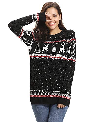Abollria Pull Femme Noël Sweater Tricot Coton Joyeux Christmas Top T-Shirt Motif Flocon de Neige Arbre de Noël Wapiti Imprimé Fête Dames Noël Col Rond Casual Automne Hiver, Noir-femme, M