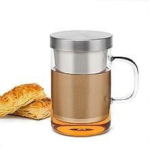 Samadoyo taza de té de cristal de borosilicato de alta calidad con de calidad alimentaria sus # 304 infusor filtro, té taza para café de té o té bolsa, resistente al calor, 500 ml, LFGB Test.
