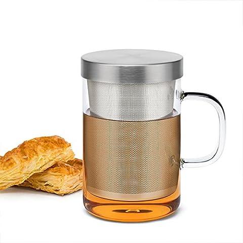 Sama Verre en Borosilicate de haute qualité Tasse à thé avec filtre Infuseur en acier inoxydable de qualité alimentaire, Préparation du thé Mug pour feuilles de thé en vrac ou Sachet de Thé, résistant à la chaleur, 500ml, Test LFGB Réussi Verre à thé ;