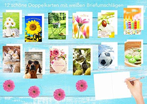 Set 12 Geburtstagskarten Glückwunschkarten zum Geburtstag mit Umschlag. Grusskarte Geburtstagskarte Happy Birthday Mann Frau (Doppelkarten/Klappkarten mit