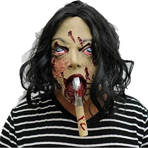 Morbuy Gruselig Halloween Maske, Neuheit Erwachsene Latex Horror Dämon Masken Perfekt für Fasching Karneval Kostüm Weihnachten Halloween Cosplay Kostüme Für Männer und Frauen (Schwalbe AXT)