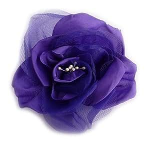 Broche fleur en tissu taffetas et tulle. Couleur violet.