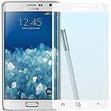 Cristal Templado Protector de Pantalla Para Samsung Galaxy Note EDGE (White)- NEVEQ® Vidrio Templado, el Samsung Galaxy Note EDGE Full Screen White (5.6 in) Pulgadas piel Protectora de la Cubierta.