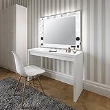 LUVODI Espejo de Maquillaje con Iluminación LED Espejo de Estilo Hollywood con 10 Bombillas LED Función de Bluetooth Ideal para Mesa Pared Dormitorio 92 x 76 x 4cm
