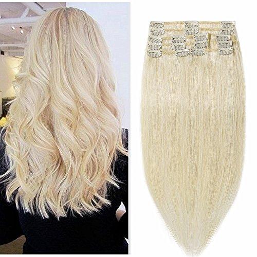 100% Remy-Echthaar Clip-In-Extensions für komplette Haarverlängerung 100g-45cm (#60 Platinum Blonde)
