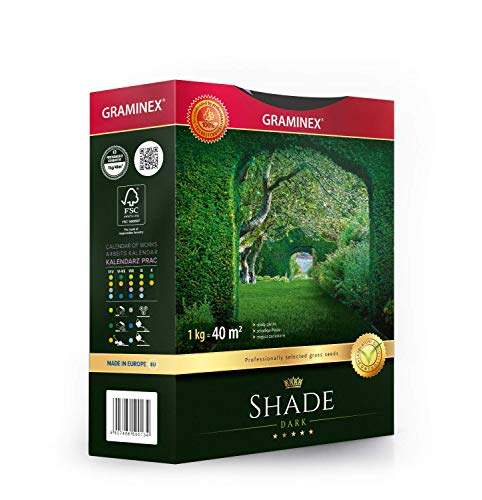 Graminex Shade Grass Seeds, Premium, Professional's Choice for Shady Areas, Vivid Evergreen, Low Maintenance, Made in EU, 1kg for up to 40 sqm (430 sq ft)