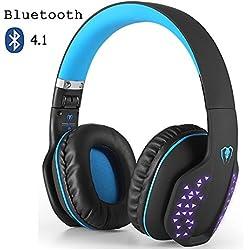 Auricular Bluetooth, Beexcellent Auricular Bluetooth 4,1 Estéreo Inalámbrico HiFi Plegable de Reducción de Ruido con LED efecto, Incorporado Micrófono y con Cable para PC, Tableta, TV, Teléfonos Celulares (Azul)
