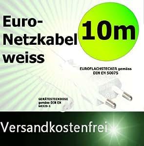 10 M de câble d'alimentation euro fiche euro plate blanc prise secteur européenne + embout 2 pôles connecteur bipolaire à double rainure prise femelle euro 8 10 m 10 m sellx247 ® 10.0 m