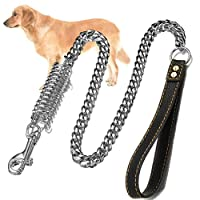 """TOSSPER 39"""" Large Pet Training Curb Chain With Damping Spring Lead Walking Stainless Steel Thick Dog Leash Anti Lost Collar Safety"""