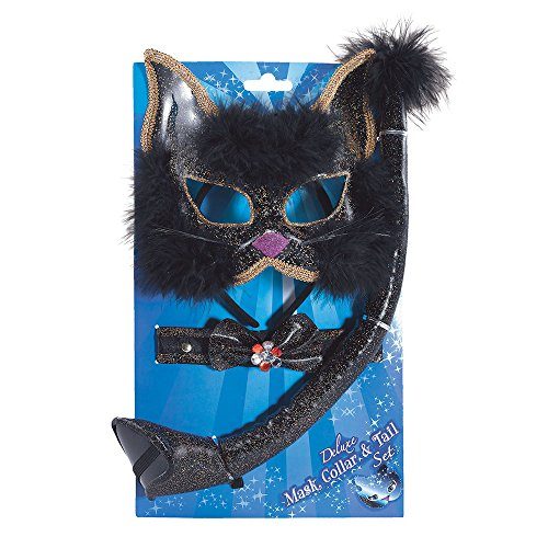 5 schwarz Glitter Cat Set, One size (Kitty-katze Halloween-ideen)