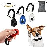 TedGem Clicker 4 piezas de adiestramiento para perros Clicker con correa de muñeca perro gato de caballo de aves mascotas formación de Clicker Set + bolso pequeño gratis, 4 colores