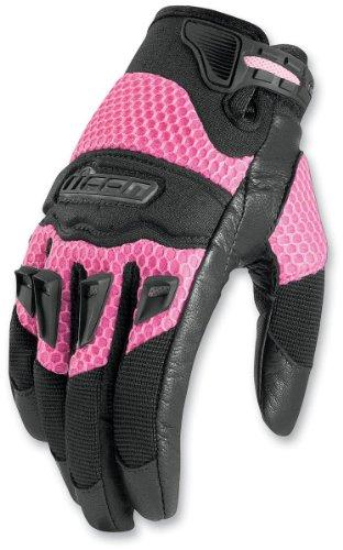 Icon 29er Damen Sommer-Motorradhandschuhe, damen, schwarz / rosa