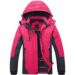 Wantdo Femme Anorak Veste de Ski avec Polaire Coupe-Pluie Coupe-Vent Imperméable Hiver Manteau Sportif Rose XX-Large