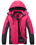 Wantdo Damen Wanderjacke Wasserdicht Winddicht Regenjacke Outdoorjacke mit Fleecefutter Pink Medium