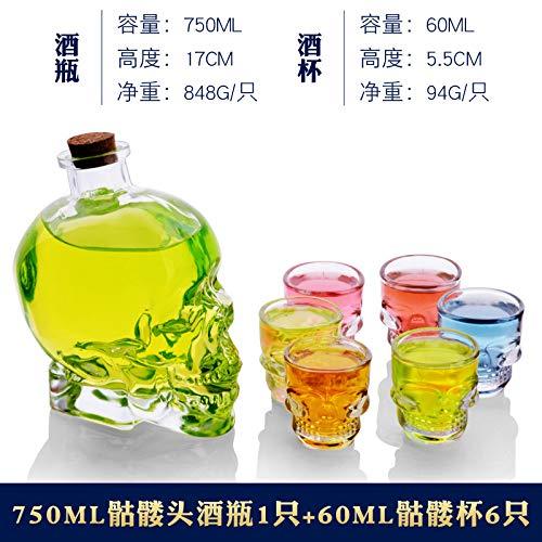 Wassergläser Kristallglasflasche Diamond Klassischer Whisky Mermaid Glasbierglasflaschensatz, Schädelflasche 6 Schädelschalen