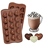 Nikgic 15 Hohlräume Herz Silikonform Schokoladen-Form Pralinenformen Schokolade schimmel Schokoladenform DIY Formen