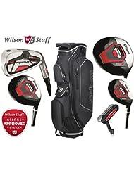Wilson Prostaff – Juego completo de palos de golf y bolsa Prostaff negra/carbón para carrito, para personas diestras, con hierros HDX de acero y varillas HDX de grafito (Edición limitada)