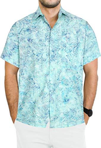 LA LEELA Hawaii-Hemd mit Blumenmustern Strand Thema-Partei Strand Insel der Männer Knopf unten Kurze Ärmel Aloha Meeresgrün_AA194 S-Brustumfang (in cms):96-101
