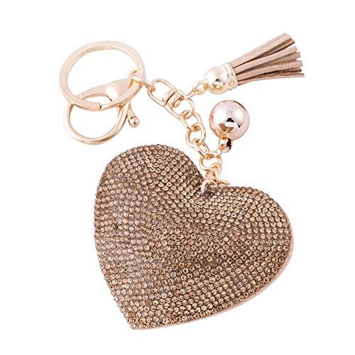 Soleebee Leder Liebes-Herz Keychain Bling Kristallstrass Taschen Koffer Rucksäcke Zubehör Charm Auto Schlüsselanhänger Schlüsselring mit Quasten (Hell Gold)