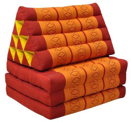 Colchón tailandés 3pliegues con triángulo cojín, playa, piscina, jardín, rojo/naranja (81003)
