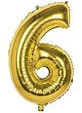 TH-MP XXL Folienballon Zahlen Geburtstag Jubiläum Abschluss Deko Party Feier Dekoration Ballons (Nr. 6 (86 cm), Gold)