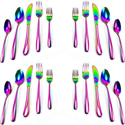 Große Geist Waren irisierend Rainbow Multicolor Besteck 5teiliges Set Edelstahl 18/8(Service für 1-4) Schillernd -