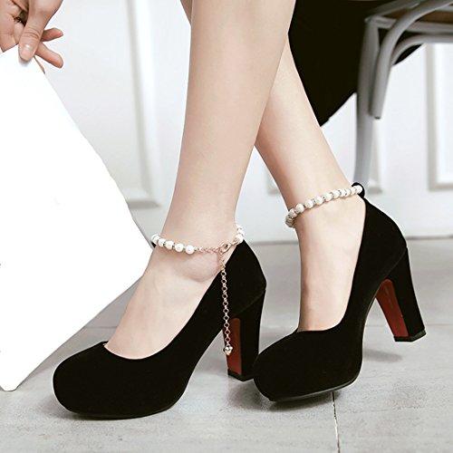 YE Damen High Heels Ankle Strap Plateau Geschlossen Pumps mit Blockabsatz und Perlen Bequem Schuhe Schwarz