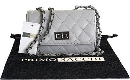 Italienisch Leder Classic Small Black Gepolsterte Schulter oder CrossbodyBag Handtasche mit Gold Metall Kette Griffe, Beinhaltet eine Staubschutztasche (Metall-link-schulter-handtasche)