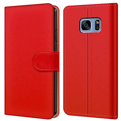 Conie BW35166 Basic Wallet Kompatibel mit Samsung Galaxy S7 Edge, Booklet PU Leder Hülle Tasche mit Kartenfächer und Aufstellfunktion für Galaxy S7 Edge Case Rot