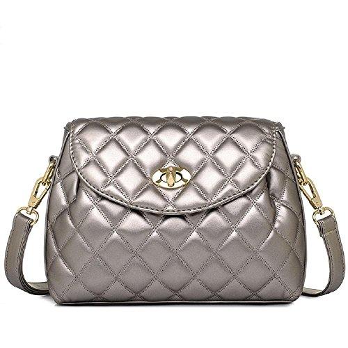 Le donne trapuntato Shoulder Bag PU cuoio della falda anteriore Crossbody busta Pochette Bag24.5 (L) * 8 (W) * 17 (H) cm , gray