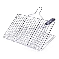 Goolsky Grilling Basket Non-Stick Barbecue Basket Removable Heavy Duty BBQ Tools Grill Basket for Meats Fish Vegetables Steak