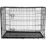BTM Quality Pet Dog Puppy Cat Training Cage Crate Carrier with Twin Door and Tray (36