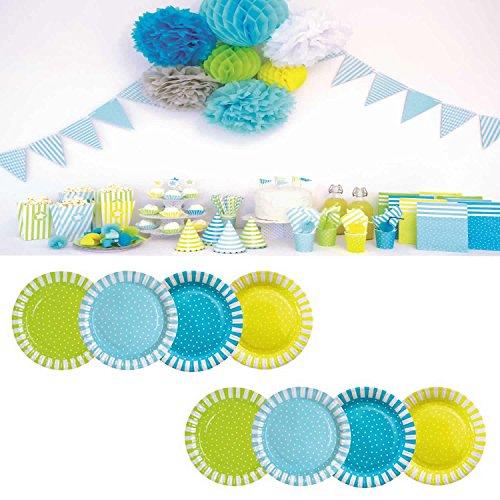 LS-Design 8 Teller Blau Grün Pappteller JaBaDaBaDo Geburtstag Party