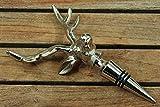 Boltze Weinflaschenverschluss Hirsch H:19 cm Silber Aluminium vernickelt