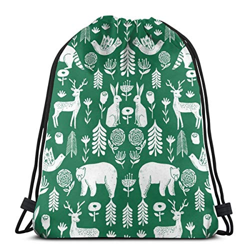 Folk Scandinavian Winter Holiday Forest Animals Green_2_11047 3D Print Drawstring Backpack Rucksack Shoulder Bags Gym Bag for Adult 16.9